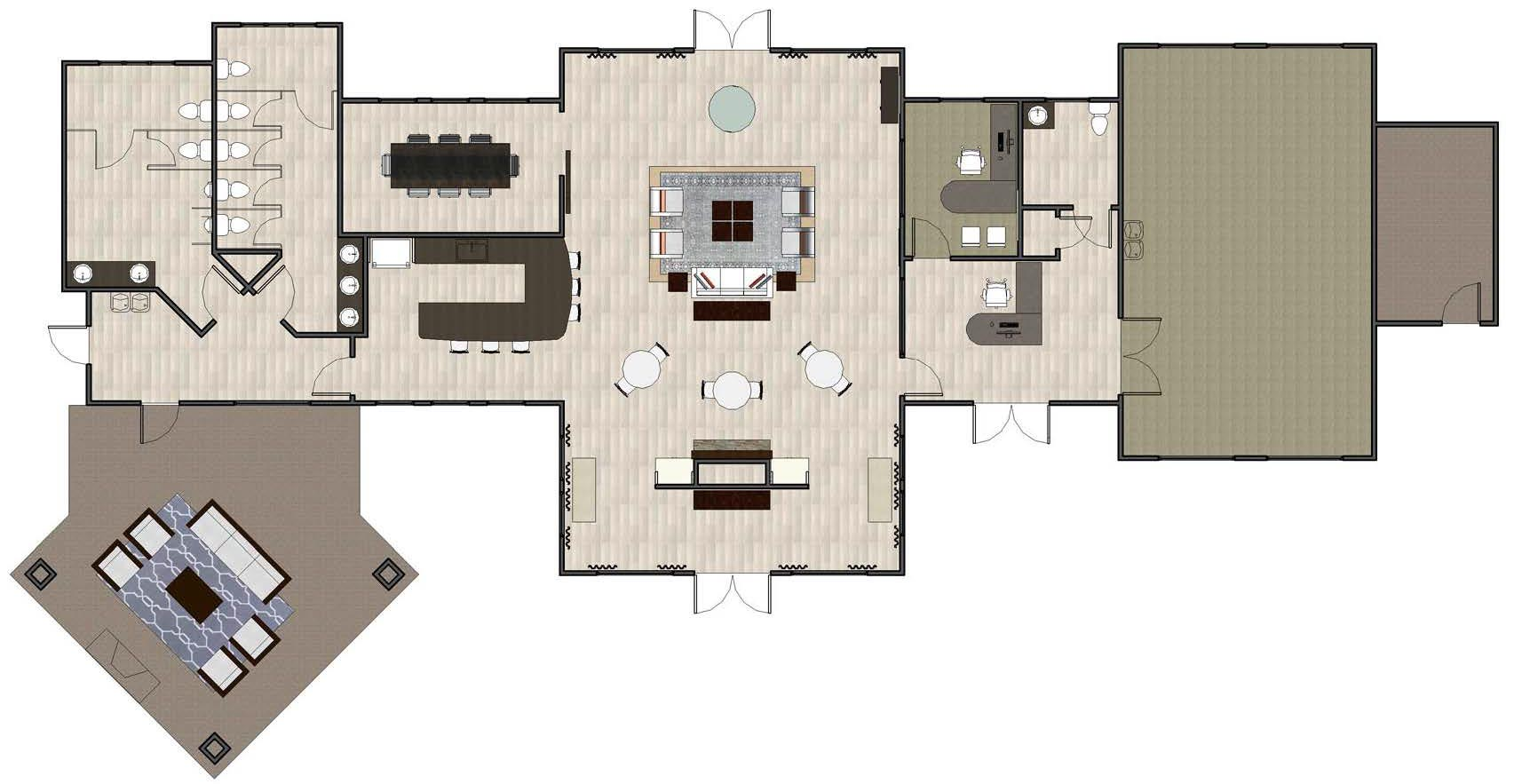 rendering ammenities center floorplan